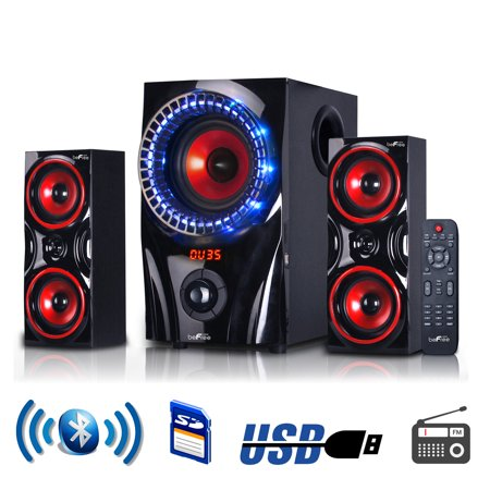 2 Piece Multimedia Speaker (beFree Sound BFS-99X 2.1 Channel Multimedia Entertainment Shelf Bluetooth Speaker System in Red)