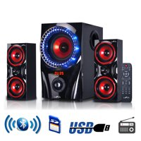 beFree Sound BFS-99X 2.1 Channel Multimedia Entertainment Shelf Bluetooth Speaker System in Red