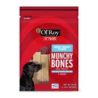 Ol' Roy Munchy Bones Dog Treats, Greek Yogurt Flavor, 20 oz, 7 Count