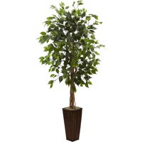 Nearly Natural 5.5-ft. Artificial Ficus Tree with Bamboo Planter