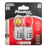 Master Lock Padlock 4688T Set Your Own Combination TSA Accepted Cable Luggage Lock, 1-3/16 in. Wide, Assorted Colors, 2 Pack