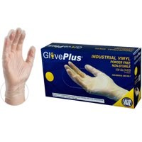 GloevPlus Clear Vinyl Industrial Disposable Gloves, Small by AMMEX