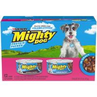 Purina Mighty Dog Porterhouse Steak & Tenderloin Tips Flavors in Gravy Dog Food Variety Pack - (12) 5.5 oz. Cans