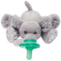 Nookums Paci-Plushies Buddies Elephant Pacifier Holder - Plush Toy Includes Detachable Pacifier, Use with Multiple Brand Name Pacifiers