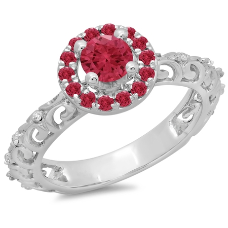 Dazzlingrock Collection 14K Round Ruby & White Diamond Bridal Vintage Halo Style Engagement Ring, White Gold, Size 8.5