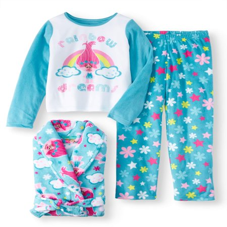 Trolls Girls 3 Piece Pajama Robe Set (Big Girl & Little Girl) (Childrens Robes)