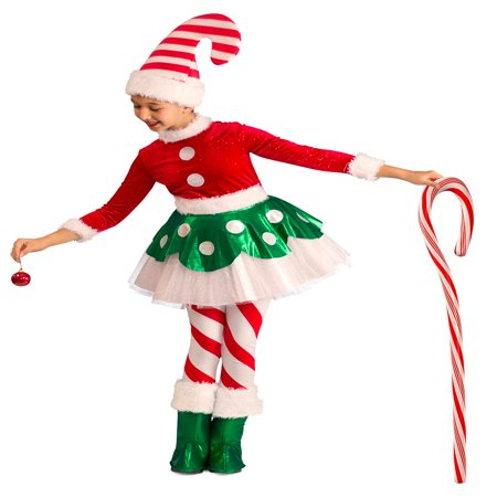 Candy Cane Elf Princess Halloween Costume