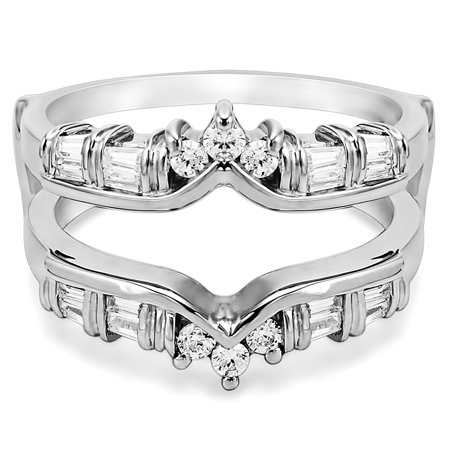Cubic Zirconia Mounted In Sterling Silver Classic Chevron Style Ring Guard (0.7ctw)