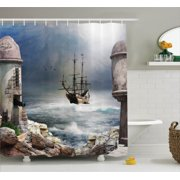 Sailboat Decor Shower Curtain Set A Pirate Merchant Ship Anchored In The Bay Of