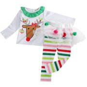 0c2e91fa263d9 2PC Baby Girls Christmas Outfits Long Sleeve Reindeer T-shirt With Striped  Tutu Pant 3
