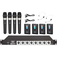 Pyle Rack Mount Wireless Microphone System with 8 Microphones