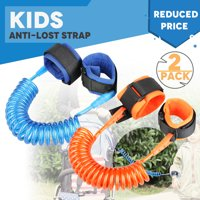 TSV Anti Lost Wristband Link for Child & Babies Toddler Safety Harnesses & Leashes Walking Hand Belt Straps (Blue + Orange)