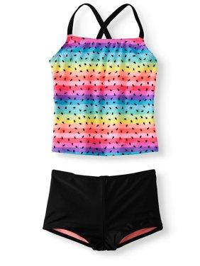 Girls' Cross-Back Tankini Boyshort Swimsuit