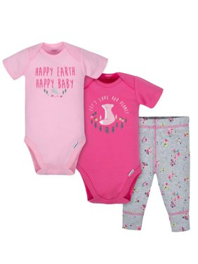 Short Sleeve Bodysuits and Active Pant Outfit Set, 3pc (Baby Girls)