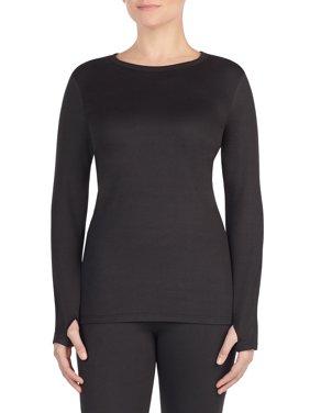 women's warm underwear long sleeve crew neck top with far-infrared technology