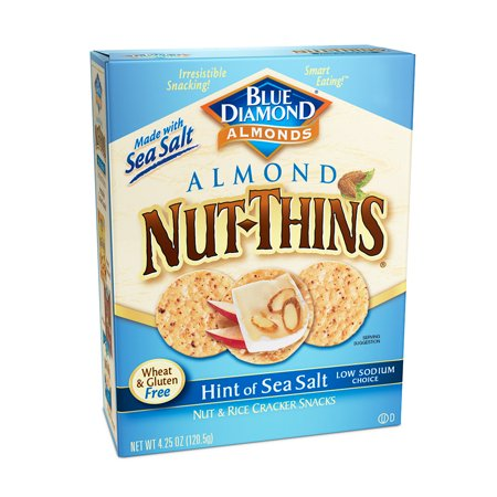 - Blue Diamond Nut-Thins Gluten-Free Hint of Sea Salt Cracker Crisps, 4.25 Oz.