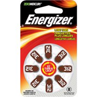 Energizer EZ Turn & Lock + Power Seal Zinc Air Hearing Aid Batteries, 1.4V, Mercury-free, Size 312, Pack of 8