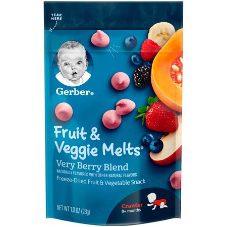 Gerber Fruit & Veggie Melts Freeze-Dried Fruit and Vegetable Snacks, Very Berry Blend, 1 oz. - Vegetable Snacks For Halloween