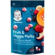 (3 pack) Gerber Fruit & Veggie Melts Freeze-Dried Fruit and Vegetable Snacks, Very Berry Blend, 1 oz.