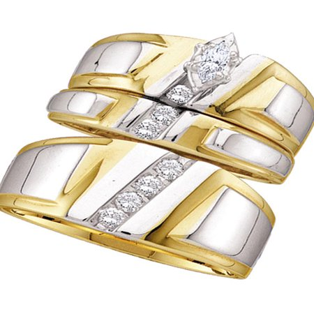 Marquise Good Cut Diamond (14kt Yellow Gold His & Hers Marquise Diamond Solitaire Matching Bridal Wedding Ring Band Set 1/4 Cttw)