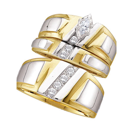 14kt Yellow Gold His & Hers Marquise Diamond Solitaire Matching Bridal Wedding Ring Band Set 1/4 Cttw