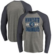 407621db340b Minnesota Timberwolves Fanatics Branded Antique Stack Big and Tall Long  Sleeve Tri-Blend Raglan T