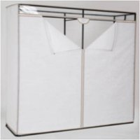 """Mainstays 1 Tier Extra Wide 60"""" Clothes Closet with White Cover and Grey Pumice Trim"""