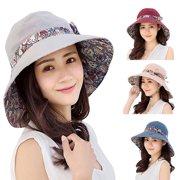 536c7cff856 Girl12Queen Women Summer Beach Travel Bowknot Wide Brim Sun Hat Reversible  Foldable Cap