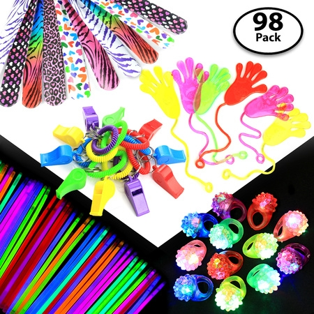 - 98-pcs Party Gift Favors Set for Kids, Includes 50 Glow Sticks, 12 Whistles, 12 Slap Bands, 12 Flashing Rings