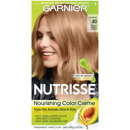 Garnier Nutrisse Nourishing Hair Color Creme (Blondes), 80 Medium Natural Blonde (Butternut), 1 kit](Ava Blonde)