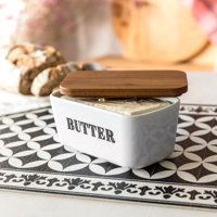 Better Homes & Gardens Porcelain Butter Dish With Rubberwood Lid
