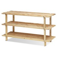 Furinno FNCJ-33003 Pine Solid Wood 3-Tier Shoe Rack