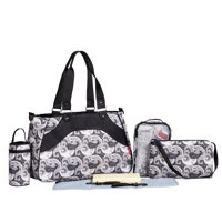 SoHo diaper bag All In One 7 pieces set nappy tote bag large capacity for baby mom dad stylish insulated unisex multifuncation waterproof includes changing pad stroller straps Black Charcoal Paisley