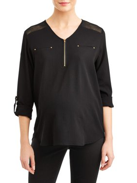 Maternity Zip Front Roll Tab Sleeve Top