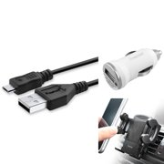 Insten Micro USB Charging Cable & Air Vent Phone Holdr Mount & White Car Charger Adapter for Android Cell Phone Smartphone Mobile Universal