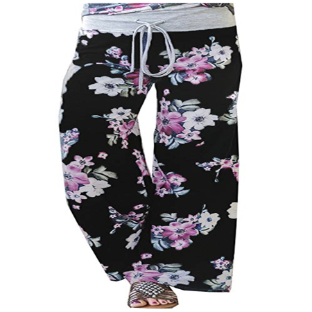 Women's Summer Casual Pajama Pants Floral Print Drawstring Palazzo Lounge Pants Wide Leg Black, XX-Large