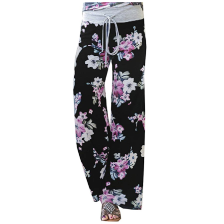 Women's Summer Casual Pajama Pants Floral Print Drawstring Palazzo Lounge Pants Wide Leg Black,