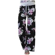 d458cbd4d7c Women s Summer Casual Pajama Pants Floral Print Drawstring Palazzo Lounge Pants  Wide Leg Black