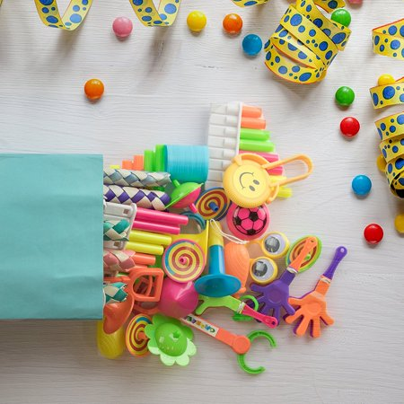 - 120pc Small Bulk Toys for Birthday Party Favors, Goodie Bags, Piñatas, Prizes, Carnival Games