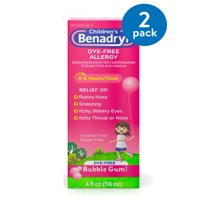Children's Benadryl Dye-Free Allergy Liquid, Bubble Gum, 4 fl. oz