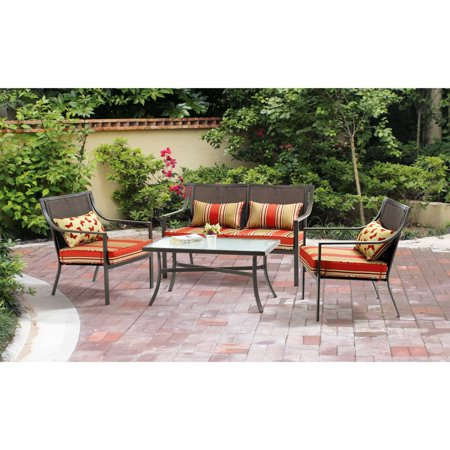 Seat Conversation Set - Mainstays Alexandra Square 4-Piece Patio Conversation Set, Seats 4