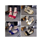 1967546ff Summer Women s Sandals Beaded T-Strap Summer Beach Flat Wedge Ankle Strap  Shoes Open Toe