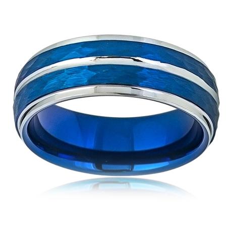 Men Women Tungsten Carbide Wedding Band Ring 8mm Comfort Fit Beveled Edge Hammered Blue Tone Tungsten - Womens Hammered Wedding Band
