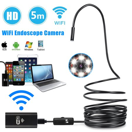 Wireless Endoscope, EEEKit WiFi Borescope Inspection Camera 2.0 Megapixels HD Snake Camera for Android and IOS Smartphone, iPhone, Samsung, Tablet (5M)