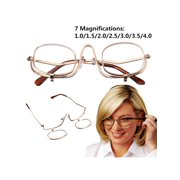 e9780c3e7f44 1.0-4.0x Magnifying Fold Flip Down Women Cosmetics Glasses Makeup Eyelashes  Eye Mascara Make