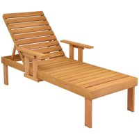 Gymax Patio Chaise Sun Lounger Outdoor Garden Side Tray Deck Chair Beach Chair Wood