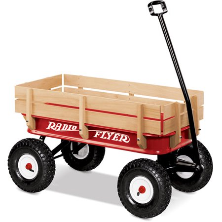 Radio Flyer, All-Terrain Steel & Wood Wagon, Air Tires, Red (Princess Wagon)