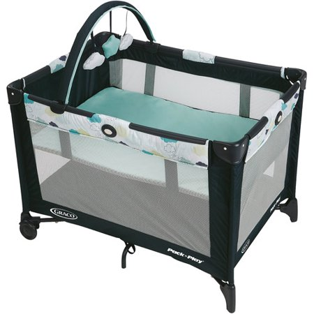 Graco Pack 'n Play On the Go Playard with Bassinet, Stratus (Graco Travel Playpen)