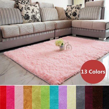 - 48''x32'' Modern Soft Fluffy Floor Rug Anti-skid Shag Shaggy Area Rug Bedroom Living Dining Room Carpet Yoga Mat Child Play Mat