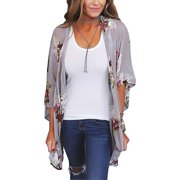 ef983ce149 Women's Floral Print Kimonos Loose Half Sleeve Shawl Chiffon Cardigan  Blouses Casual Beach Cover Ups